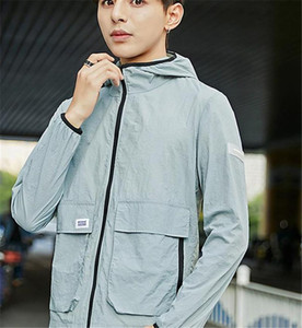 Fashion Designer Solid Color Jackets Hooded Long Sleeve Mens Coats Spring Mens Outwear with Zipper