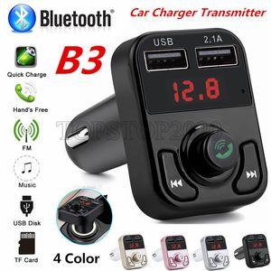 Carregador de carro receptor de áudio 50pcs B3 FM Bluetooth Car Transmissor Aux modulador Car Kit MP3 Player 3.1A Quick Charge Dual USB