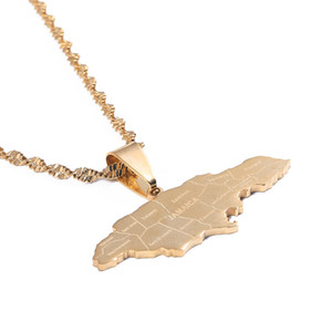 Jamaica Map Pendant Necklaces Trendy Gold Color Jewelry Jamaican Map Jewelry