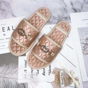 2020 Women White Slide Leather Flat Casual Low Top Slipper Sandal slippers With Original Box