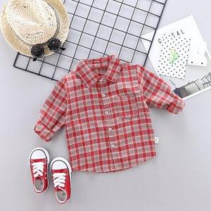 2019 Fashion New Style Autumn Clothing Children Baby Small Plaid Shirt One-Piece Casual Korean-style Shirt Base Shirt