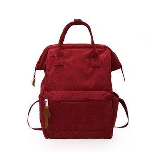 Frauen Corduroy Reisen Rucksack Solid Color Rucksack Laptop Buch Schulranzen Schultertasche für Jugendliche, 3 Farbe