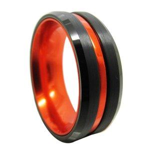 İki parça kombinasyon 8mm Siyah Tungsten Halkalar ve erkekler ve kadınlar Moda takı yüzük için turuncu renk aluminiumm halkasını
