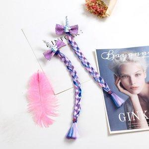 Cute Unicorn Sequin Bow Wig Braid Hairpins Baby Girls Hair Clips For Kids Princess Hair Ties Barrettes Accessories Silk Flower Hair Ac XlT5#