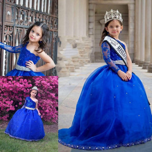 Royal Blue Little Girls Pageant Dresses One Shoulder Beads Long Sleeve Ball Gown Kids Formal Wear Lace Wedding Flower Girls Dress FS01