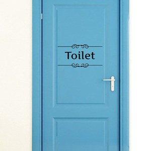 Creative Bathroom and Toilet Door Vintage Vinyl Wall Sticker Entrance Sign Wall Art Quote Decals Home Decor