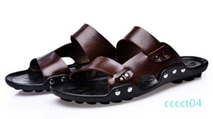 Wholesale-Men Genuine Leather Flip Flops chinelo masculino Fashion Mens Slippers Summer Outdoor Beach Shoes Casual Men Sandals ct4