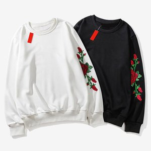 Autumn Men's Hoodies Brand Rose Print Designer Men Clothes Classic Pullover Men Sweatshirts Streetwear Hip Hop Mens Hoodie