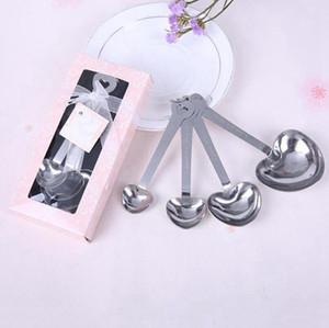 Нержавеющая сталь в форме сердца мерные ложки набор свадебные сувениры любовь новый 4 шт. / компл. для каждой подарочной коробки 300 компл./лот RRA2744
