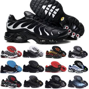 2019 Nike Air Max Tn Shoes New Airmax Tn Plus Plus-Sportschuhe Günstige Tn Requin Breathable Ineinander greifen Schwarz Weiß Rot Designer Outdoor-Turnschuhe