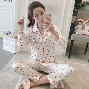 WAVMIT gros 2018 femmes Confortable soie Pyjama imprimé fille Pyjama costume manches longues femmes de nuit Chemise de nuit Ensembles Y200107