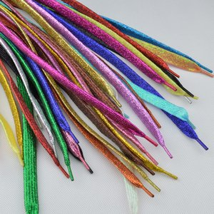 1 Pairs 113 CM Women Flat Golden Silver Shoe Laces Super Long Daily Party Camping Shoelaces Growing Canvas Strings Flat Laces