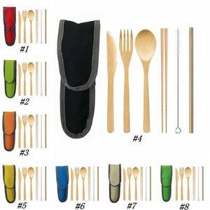 Bambus Bestecke Messer, Gabel, Löffel-Set Bambus Stroh portable Picknick im Freien umweltfreundliche Geschirr Set ZZA1954