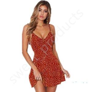 Kadınlar Dantel-up Geri Elbiseler Yaz Nokta Baskılı Dalgalı Kayış Kayma Elbise Kıyafetler Sandbeach Sahil Asimetrik Fermuar Elbise LY323 içi boşaltılmış