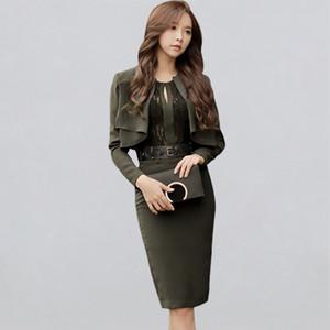 2020 Primavera Office Lady 2pieces Vestido justo Mulheres Joelho de comprimento BODYCON Bainha Vestidos coreano Negócios Vestido Casual