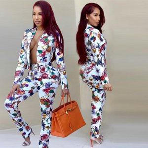2020 Women Jewelry Printed Clothing Set White 2pcs Tracksuits Jacket Pants Outfits Suits S-2XL