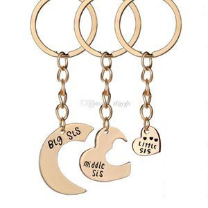 Wholesale European and American Jewelry, Fashion Set Chain BIG MIDDLE LITTLE, Good Sister Love Keychain, Free Shipping