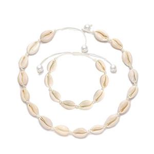 Perlen Muschel Choker Halskette für Frauen Muschel Halskette Armband Sets Schnurgebundene Muschel Halskette Handgemachte Seil Schnur Strand Schmuck für den Sommer