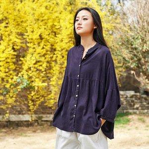 Johnature Women Cotton Linen Shirts Vintage Blouses 2020 Summer New Stand Button Bat Sleeve Solid Color Plus Size Women Shirts