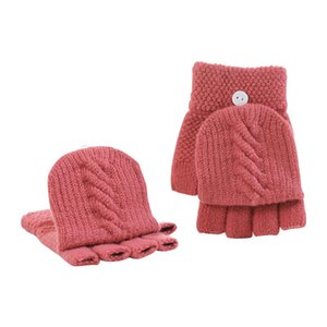 2020 half-finger Gloves Women Fingerless Clamshell Solid Color Knitted Simple Convenient Gloves Autumn Winter Warm Sisters Gifts