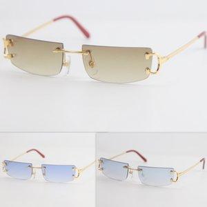 Metall Kleine Größe Quadratisch Randlose Sonnenbrille Männer Frauen mit C Dekoration Drahtrahmen Unisex Eyewear für Sommer Outdoor Reisen Goldrahmen