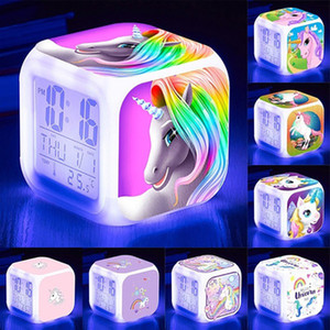 Unicorn Alarm Clock Cute Girls Unicorn Mini Retro Cute Cartoon Alarm Clock Table Desk Clock for Children EEA912-3