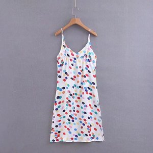 cloth Hot A 2019 spring new casual color wave point sling dress Polka Dot Print Dresses Casual Chiffon A Line Dress Chiffon Sundress