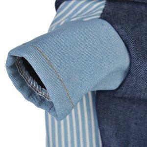 2018 Autumn Winter Pet Clothes Shirt Jeans Plus velvet Small Dogs Costume Keep Warm Shirt Dog Coat Thicken warm