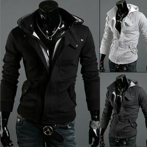 Herren Winter Warm Slim Fit Zipper Kapuzenjacke beiläufige Art und Weise Solid Color Langarm-Sweatshirt Mantel