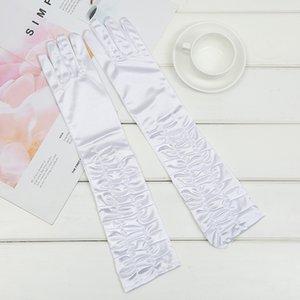 Guantes Novia Satin White Glove 43cm Long Bridal Gloves Silver Women Prom Party Wedding Gloves Full Finger Gant Boda ST224