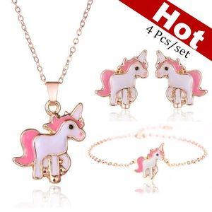 4 Pcs set Necklace Earrings Cartoon Horse U nicorn Necklace Earring Jewelry Pink Girls Gift Jewelry