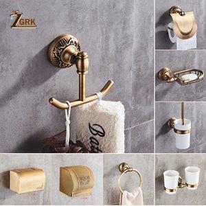 ZGRK Space Aluminum Bathroom Series Antique Brushed Towel Ring Toilet Paper Holder Cup Holder Robe Hook Bathroom Hardware T200425