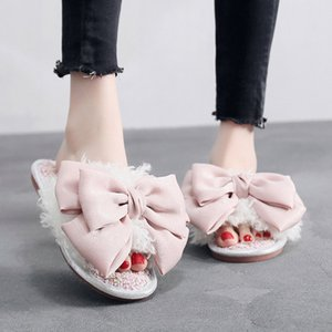 2019 Início Plush Chinelos Moda Mulheres da Grande borboleta-nó Inverno Quente Fur Slides Indoor Feminino chinelos de algodão