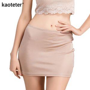 100% Pure malha de seda de alta qualidade Mulheres Half deslizamentos simples Fino Sexy Elastic cintura fina roupa interior respirável deslizamento 3 cores