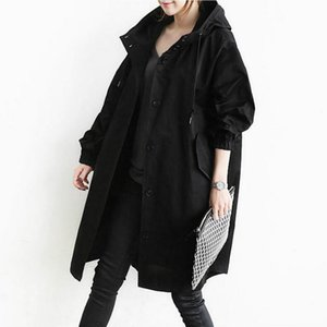 Fashion-autumn new fashion europe plus size trench coat long sleeve notched loose blazers women solid gray long section cardigan A780