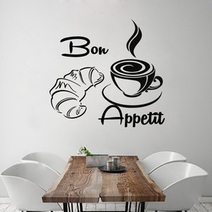 New Arrival Coffee Croissant Wall Decals French Bon Appetit Vinyl Removable Home Decor Wall Stickers