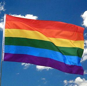 Indicador del arco iris 3x5FT 90x150cm LGBT Banner Polyester Flag colorido del arco iris para la decoración 3 X 5FT Flag KKA6888