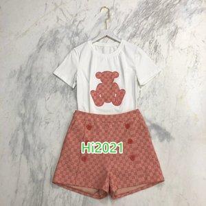 de gama alta las mujeres camiseta de la muchacha apliques juego del patrón de los animales jersey + letra doble botonadura de impresión cortos 2020 de diseño de moda de lujo conjuntos sueltos