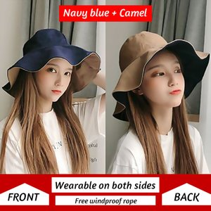 K24 Double-sided Fisherman Sun Hat For Female Women Summer Korean Outdoor Basin Hat Japanese Style Sunhat Sun Protection New2020
