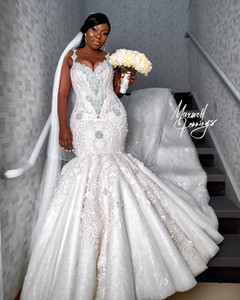 2019 Árabe Plus Size luxuosos Renda Vestidos de casamento frisados Cristais Mermaid Sexy vestidos de noiva vintage Vestidos de casamento SY266