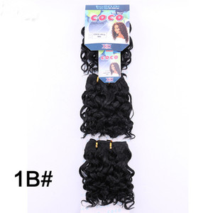 """Synthetic Natural Curly Hair Weaves Water Wave 3pcs Lot COCO Hair Bundles 8""""Inch 200g Synthetic Hair Double Weft Extension 1B #2 #4"""
