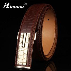[HIMUNU] Newest 100% Genuine leather Men's Belt Store Crocodile grain belt Luxury Design alloy metal buckle Business Men belt Y200520