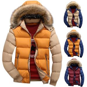 Col en fourrure Mode Hommes Manteau d'hiver Zipper épais Patchwork coupe-vent Outwear chaud Coton Veste Manteau Homme Outdoor Long Jacket