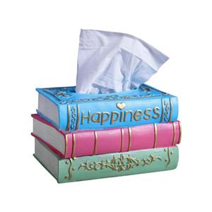 Retro tissu Boîte résine serviette Conteneur Rectangle Creative livre papier serviette en forme de support de bureau Décoration