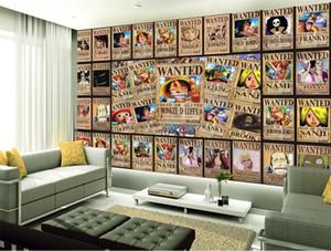 não-tecido adesivo de parede de tamanho personalizado da foto 3D papel de parede sala de estar cama mural retro cartaz One Piece sofá imagem de TV cenário wallpaper