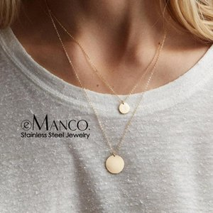 e-Manco Gold Color Chain Necklace for women Double Layered Stainless Steel Choker Necklace Round Coin Pendants