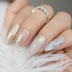 24 Pacote Bege Artificial Glitter Ouro Estilete Falso Estilo Elegante Imprensa Com Adesivo Cola Manicure Dicas