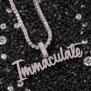 New Arrival Gold Plated Bling Cubic Zirconia Letters Immaculate Necklace Bijoux Hip Hop Punk Rock Sweater Chain Jewelry Gifts for Men Women