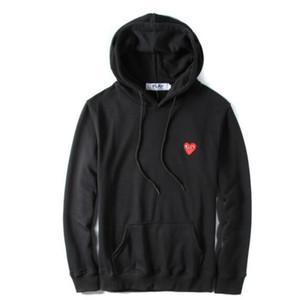 19SS Japon erkek gelgit marka aşk düz renk kapüşonlu kazak küçük kırmızı kalp erkekler ve kadınlar rahat ince ceket