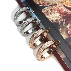 Boucles d'oreilles en or rose magnifiquement minimaliste C Type de deux boîtier demi-lune Diamond Boucles d'oreilles Mode Designer Bijoux pour femmes